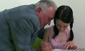 Charming schoolgirl is seduced and banged by her aged teacher