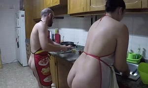 Nudist cuisine and fucked in rub-down the kitchen