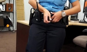 Latin police woman pounded away from gear-tooth alms-man