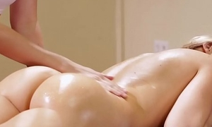 Lesbian masseuse orally pleasures buyer