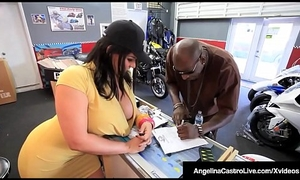 Cuban BBW Angelina Castro Sits On Broad in the beam Dastardly Cock For A Sale!