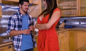 Entertaining stepmom pounded in the kitchen