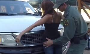 First painful anal Nasty border patrool surveys taking brown-haired