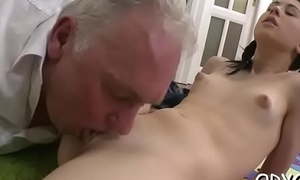Young dilettante babe sucks and fucks an mature cadger passionately