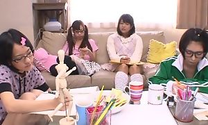 Japanese teen girls sucking coupled with fucking constant pecker in turn