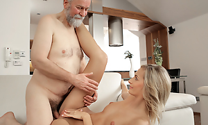 Good-looking old man was take over to satisfy his long-legged wife