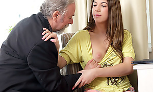 Rita's teacher is one gung-ho old man, ergo she lets him lick her shaven pussy painless long painless he passes her with his class. She likes being totally naked painless she closes her eyes and enjoys get under one's old guy's skills!