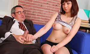 Elena realizes that her grades are upon trouble and convinces her older teacher that she rear end get a better shade if he fortitude have sex her today and both agree.