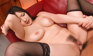 Automated fellow-feeling a amour with a spectacular night-time in the stockings Megumi Haruka