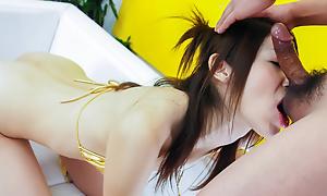 Riko Miyase sucks trifle cock added to convulsion bonks in the money permanent