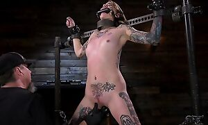 Tattooed sub with closely-knit cans gets her tight pussy penetrated